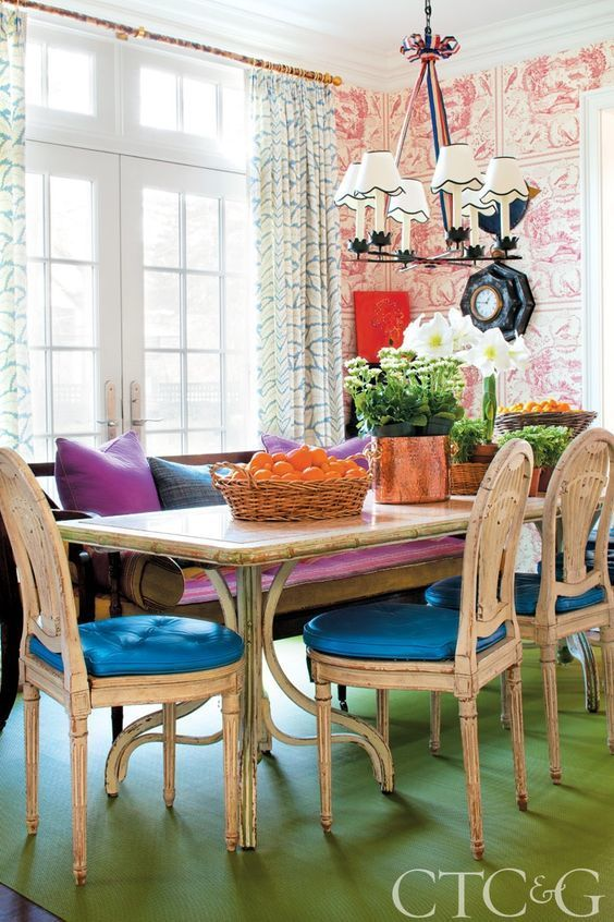 Brunschwig Fils Lee Jofa Talavera Custom Dining Room Drapes Shown In Aqua Comes 4 Colors
