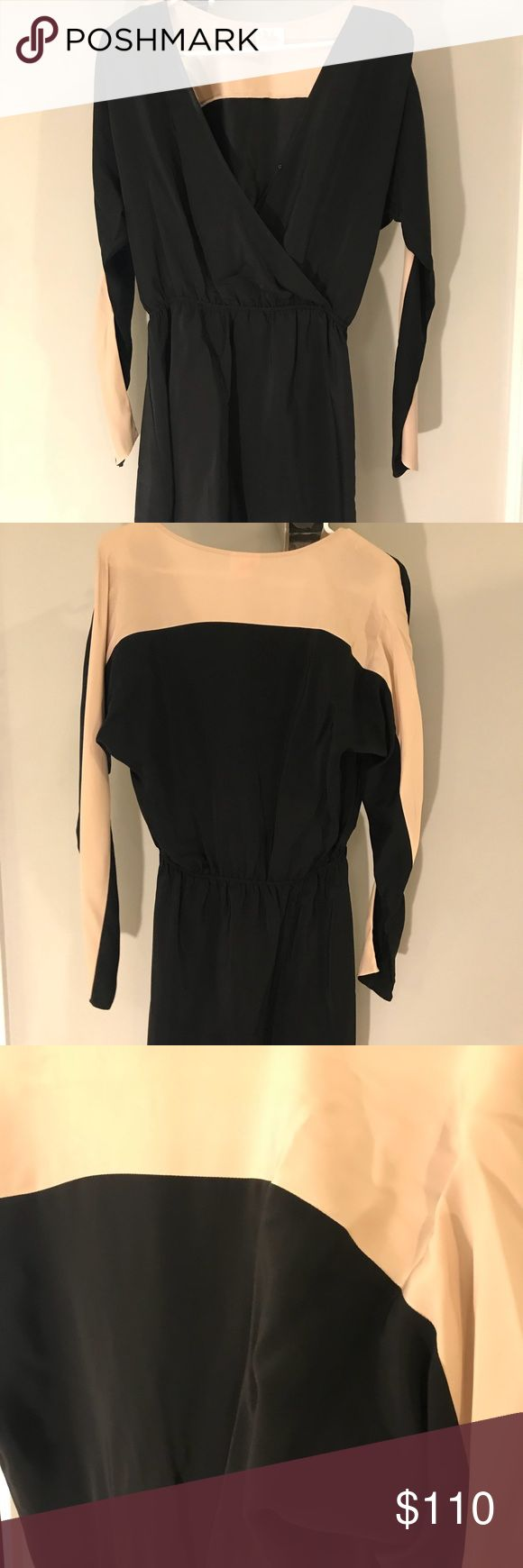 Nude and Black Parker Dress Nude and Black silk long sleeve short dress. Fits perfect for a small! Willing to consider any offer! Parker Dresses Long Sleeve