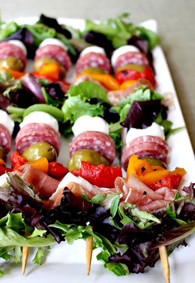 Healthy Party Food Ideas | Antipasto on a Stick | DIY Projects & Crafts by DIY JOY at http://diyjoy.com/best-diy-party-food-ideas