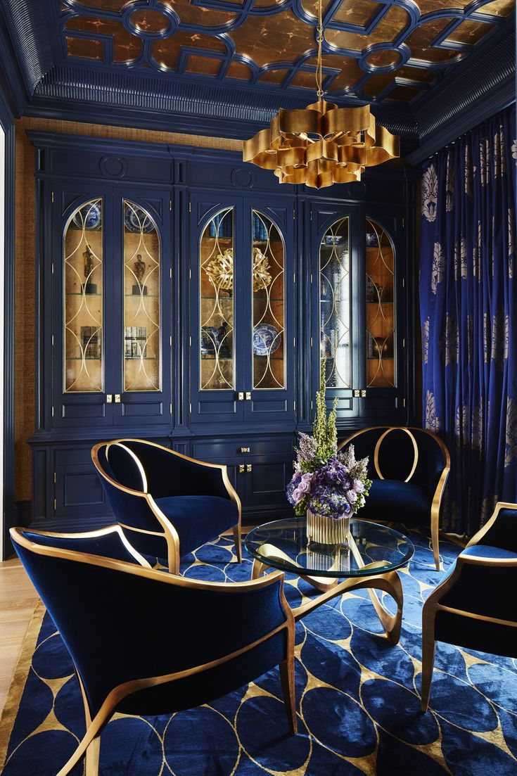 Bold Navy & Gold Parlour, with gold leaf ceiling details, custom cabinets & rug by Alexandra Naranjo Designs – Lookbook – Dering Hall