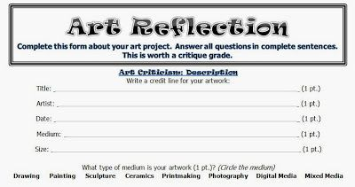 Art Room 104: Upper Level: Personal Art Criticism Worksheet
