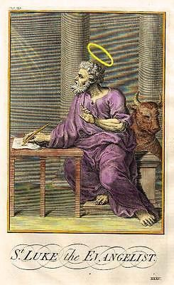"Burkitt's Expository - ""ST. LUKE the EVANGELIST"" - Hand-Colored Eng -1752"
