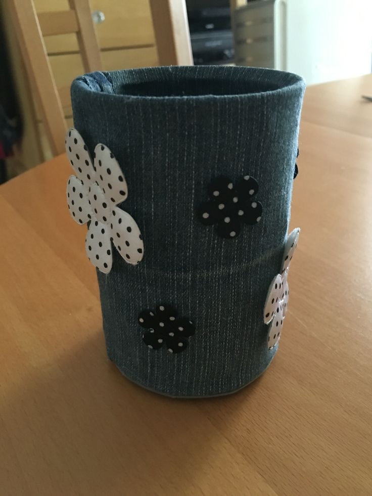 Up-cycled Tin Can with Denim and Padded Flowers