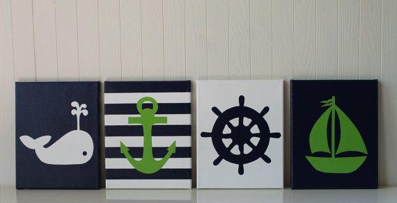 Nautical Nursery Painting Decor Sailboat Nursery Whale Nursery Anchor Ship's Wheel Navy Green Nautical Bathroom