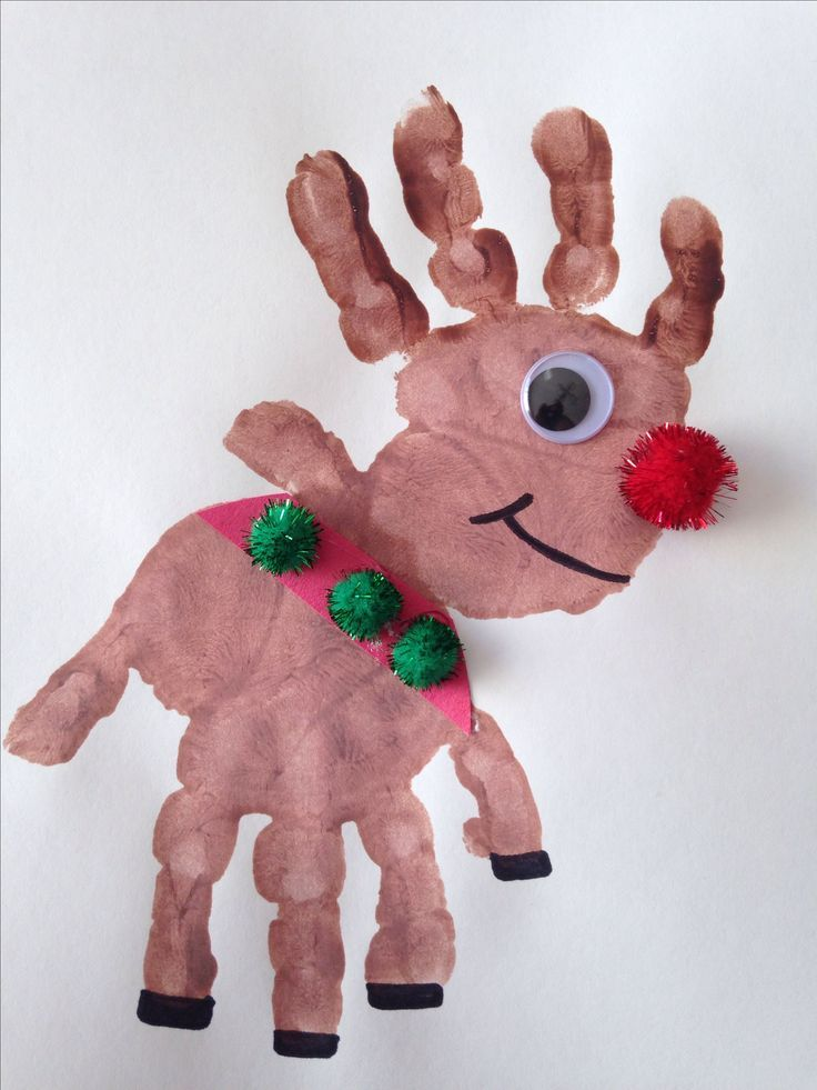 Handprint Rudolph Craft - Reindeer Craft - Christmas Craft - Preschool Craft