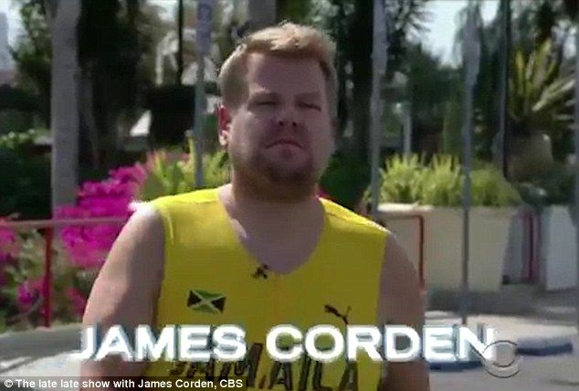 Ready, set, go! James Corden challenged nine-time Olympic gold medalist Usain Bolt to compete against him in a 100-metre race on The Late Late Show