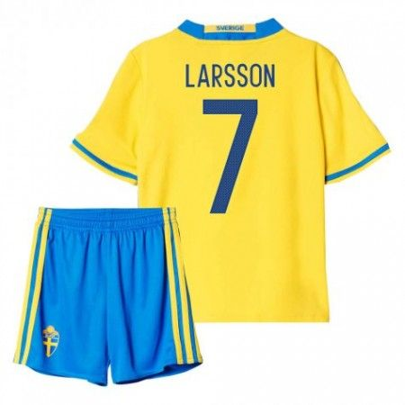 Sverige Trøje Børn 2016 #Larsson 7 Hjemmebanesæt Kort ærmer.199,62KR.shirtshopservice@gmail.com