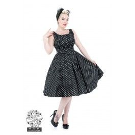 Robe Pin-Up Rétro 50's Rockabilly Pois Noir Blanc