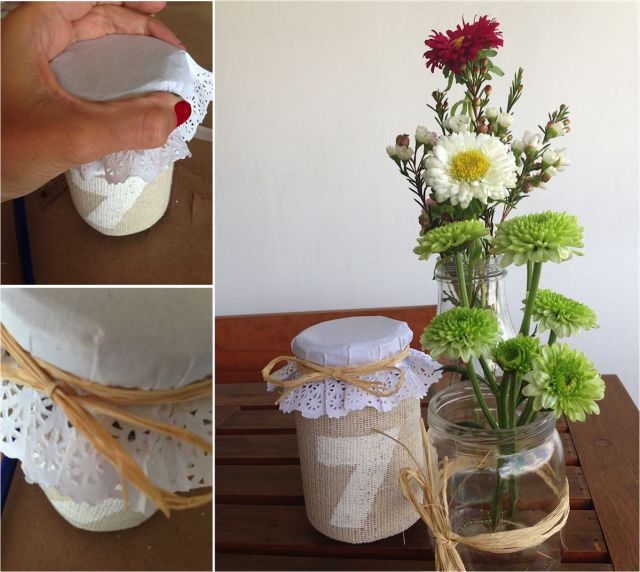 DIY Tarros de cristal con yute, rafia y blondas