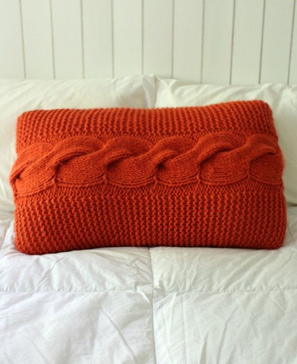A personal favourite from my Etsy shop https://www.etsy.com/au/listing/252192074/burnt-orange-chunky-cable-bed-pillow