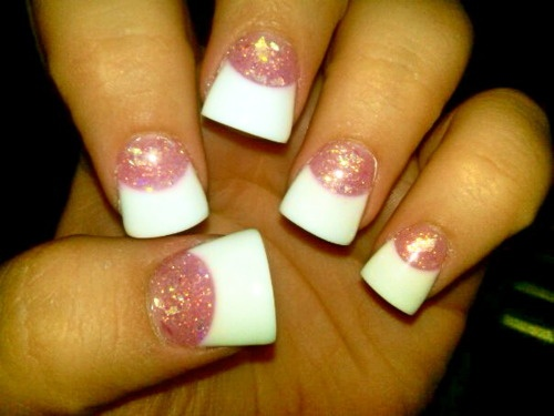 Pink And White Manicure | pink and white # glitter # french # fake nails