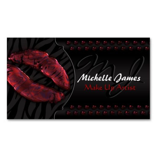Modern Glossy Lips Zebra Monogram Make Up Artist Business Card. This great business card design is available for customization. All text style, colors, sizes can be modified to fit your needs. Just click the image to learn more!