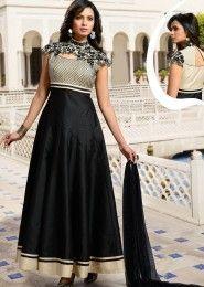 Party Wear Silk Black Embroidered Work Anarkali Suit