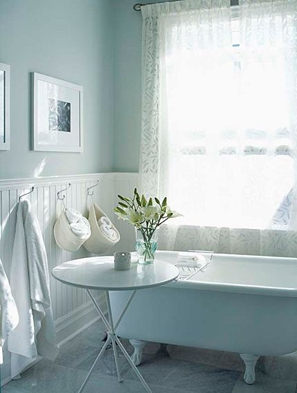 My Dream Bathroom.clawfoot Tub With White Wainscot Paneling In A Powder  Blue Bathroom.(I Have The Powder Blue Bathroom And Bright Window  Now I  Just Need ...