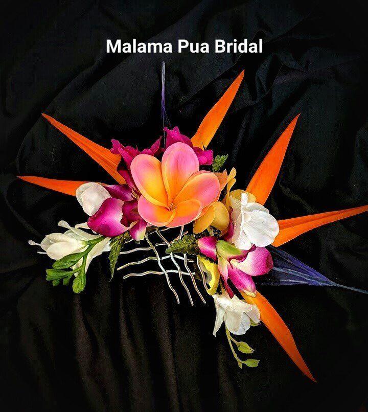 NEW ORANGE Ibisco Fiore Per Capelli Clip Costume Da Sposa Hawaiano Luau party