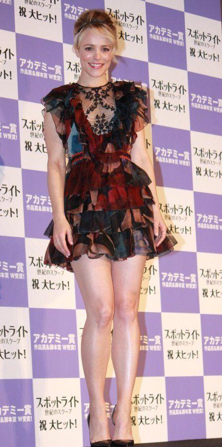 Rachel McAdams in Elie Saab promotes 'Spotlight' in Tokyo. #bestdressed
