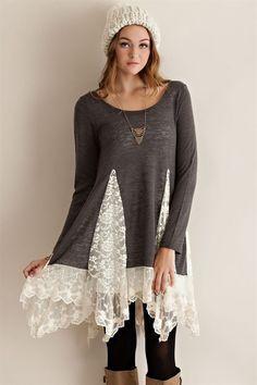"Tunic Sweater Top with Lace Detailing - another easy DIY with lace curtain and a sweater. .........................................................................................................Schmuck im Wert von mindestens   g e s c h e n k t  !! <a href=""http://Silandu.de"" rel=""nofollow"" target=""_blank"">Silandu.de</a> besuchen und Gutscheincode eingeben: HTTKQJNQ-2016"