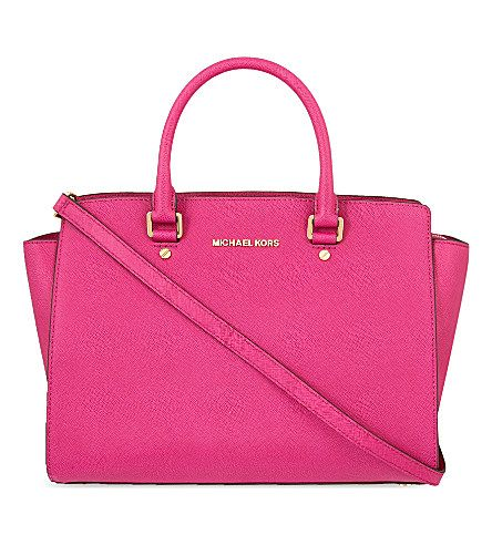 MICHAEL MICHAEL KORS Selma large Saffiano leather satchel (Fuschia