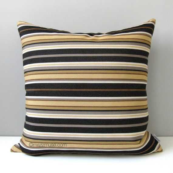 Black Gold Striped Outdoor Pillow Cover Modern By Mazizmuse