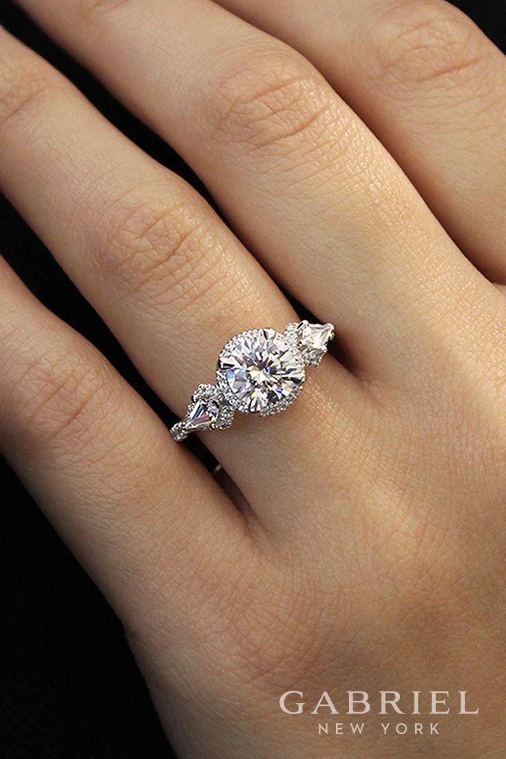 18k White/Rose Gold Three (3) Stones Round Cut Halo Engagement Ring