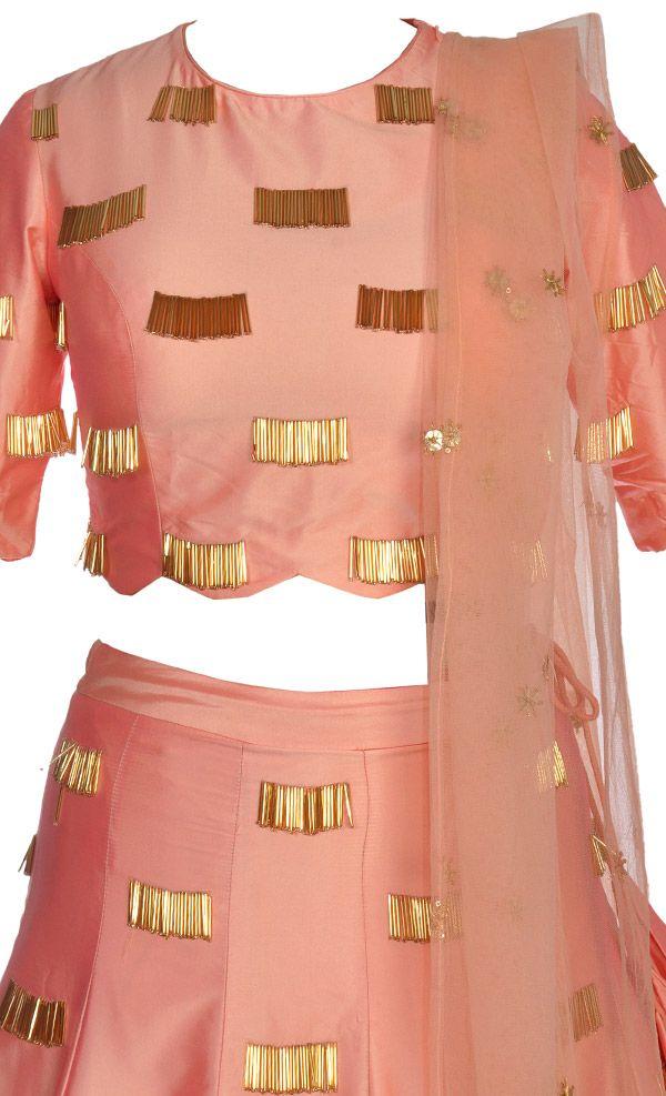 Peach Gold Silk Lehenga
