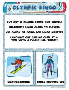 Olympic Bingo Calling Card and Game Instructions