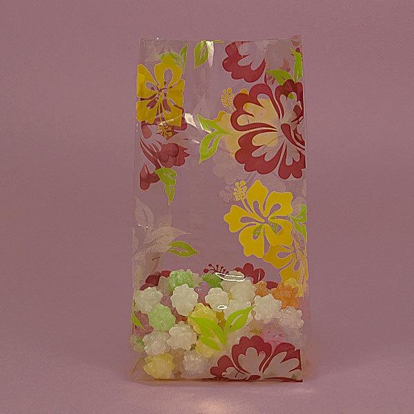 Clearance 10 Hawaiian Hibiscus Cellophane Bag Yellow Purple Green Flower Favors Gift Beach Party Treat Tiki Aloha Pool Favor