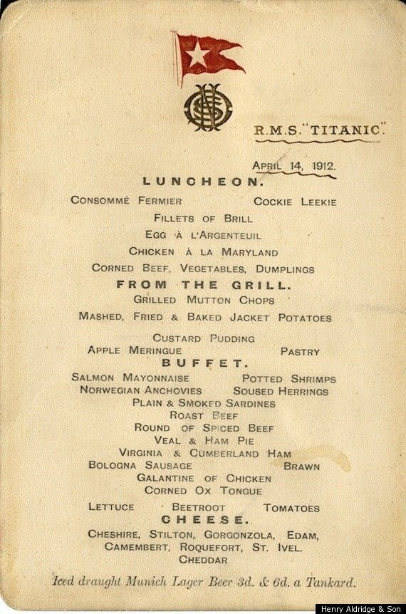 Last Luncheon Menu from the Titanic April 14,1912.: History, Lunch Menu, Rmstitanic, April 14, Lunches, Ship, Rms Titanic