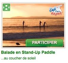 Philippe, le créateur de Cap Kayak, est passionné de sports et aime faire découvrir et partager les plaisirs que procurent ces activités « nature ». Moniteur diplômé d'État, il vous emmenera en balade durant 2 heures pour admimirer le coucher du soleil sur l'eau. De plus, l'ensemble des participants de ce tirage pourront bénéficier de l'offre avantage de 10 euros au lieu de 15 euros pour une heure de location de Stand-Up Paddle. @BSM_fr #BingoSocialMedia