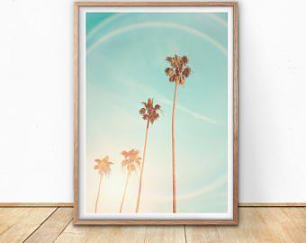 Palm Trees Print - California Wall Art, Retro Beach Print, Instant download, Tropical poster, Coastal Life, Modern Wall, Boho decor, Hawaii