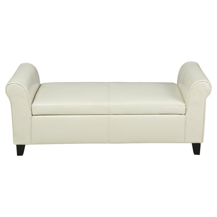 Torino Faux Leather Armed Storage Ottoman Bench - Christopher Knight Home, Ivory