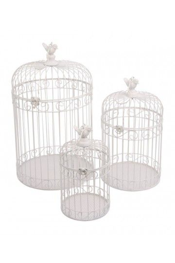 Lot 3 cages oiseaux voli re de d coration d co for Oiseaux decoration exterieur