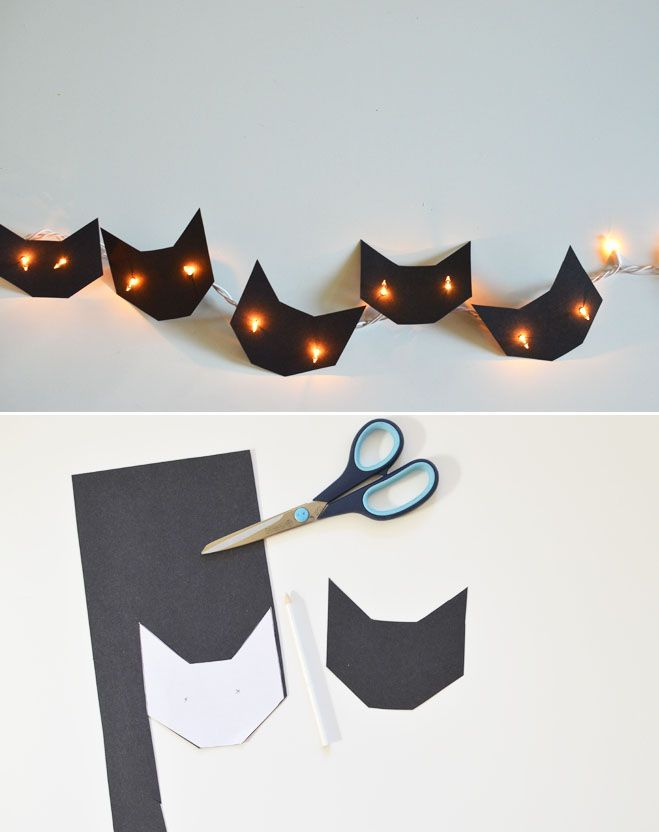 DIY Cat String Lights:  It's a halloween decoration, but I think with pink, white, and brown paper it would be great for the Little Miss' room.