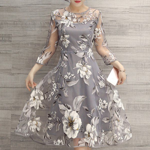 $17.99 Charming Round Neck 3/4 Sleeve Floral Print See-Through Dress For Women