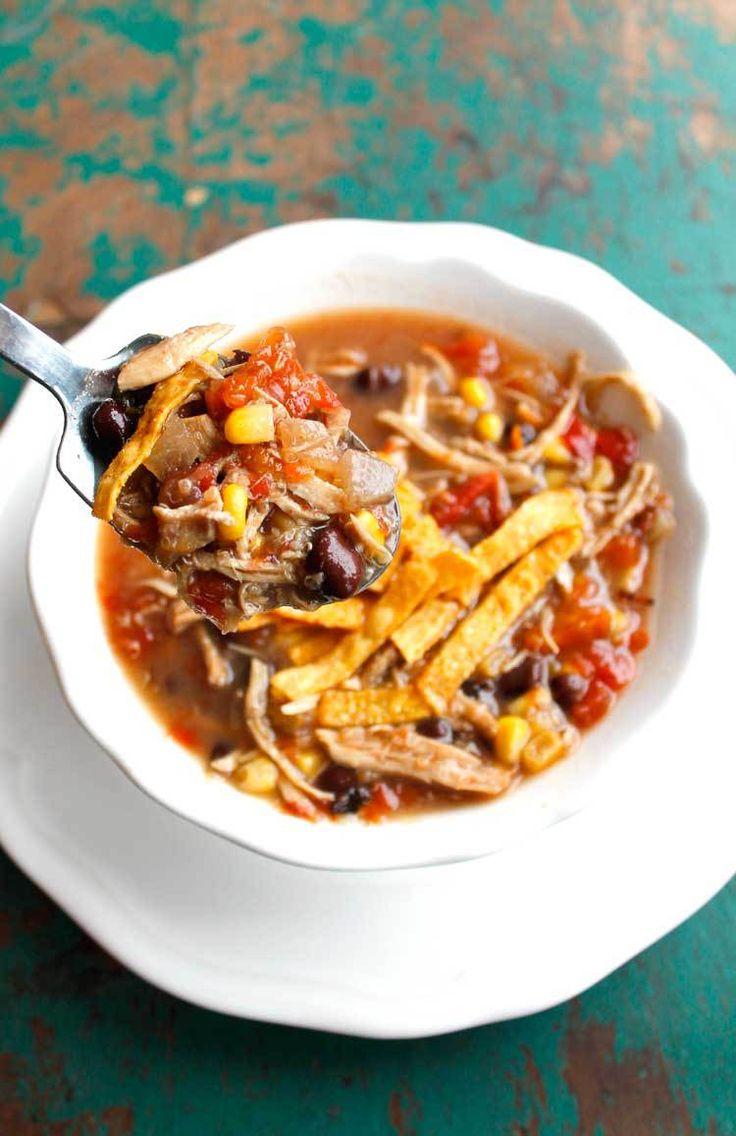 Crockpot Turkey and Quinoa Tortilla Soup