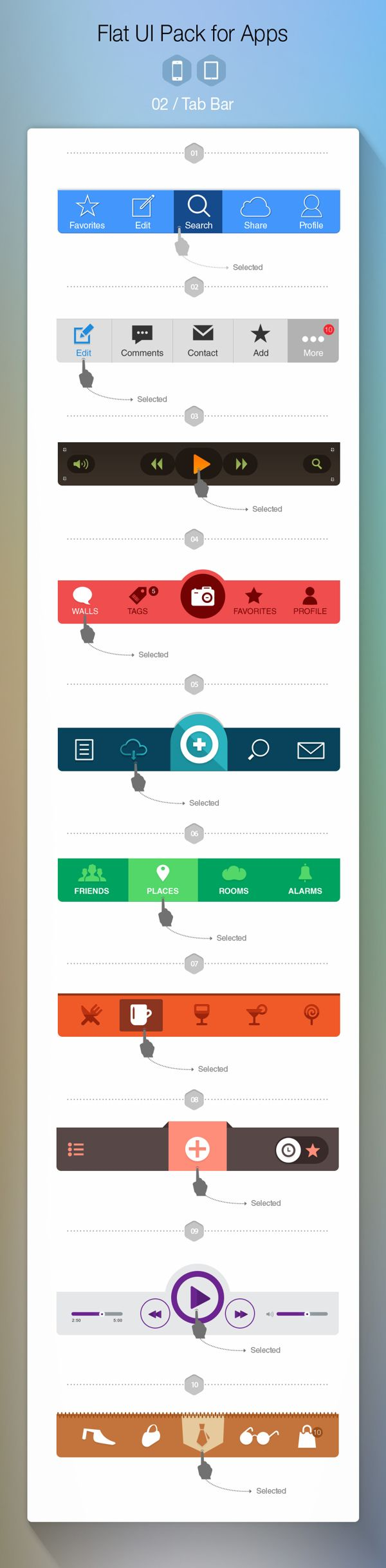 Free Flat UI Pack for Apps   #ui