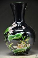 Jemné čínsky porcelán ručne vyrezávané dekorácie Vázy - Lotus