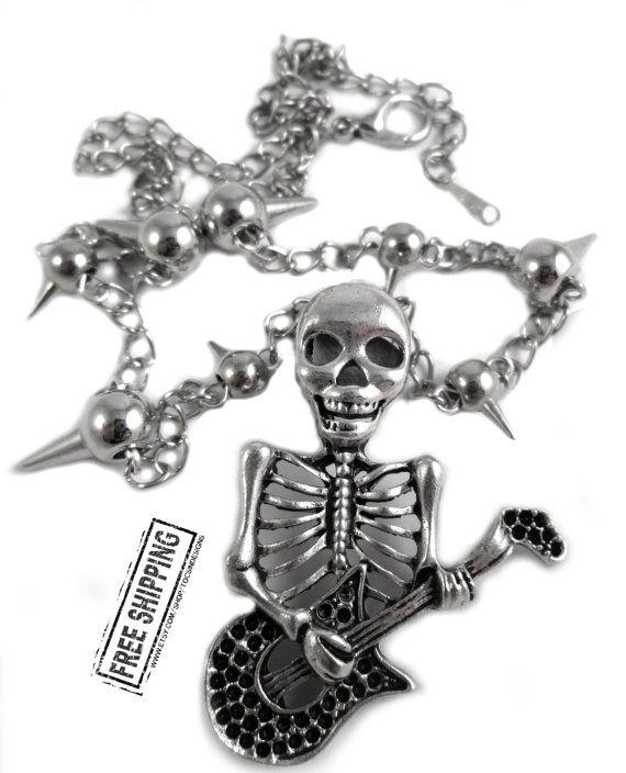 Skelett Halskette Punk Rock Schmuck gothic von TocsinDesigns
