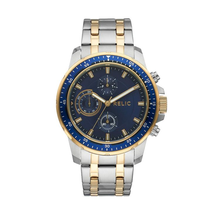 Relic Men's Heath Two Tone Stainless Steel Watch, Size: Large, multicolor