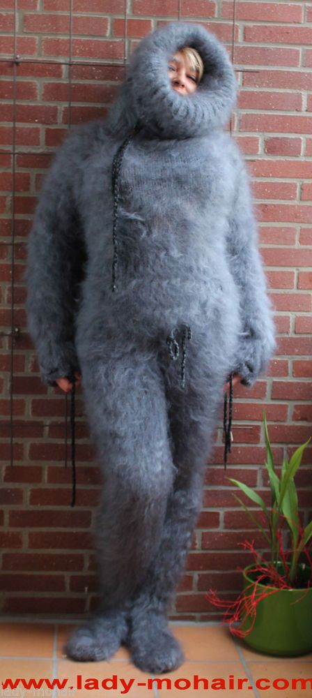 Langhaar Mohair X- fuzzy sweater Catsuit Fetish grey grau ...