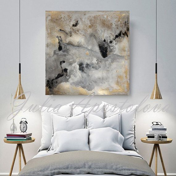 Art Print on Canvas of Original Watercolor Abstract Landscape Series with Gold Leaf Paintings by Julia Apostolova  Title of the Original