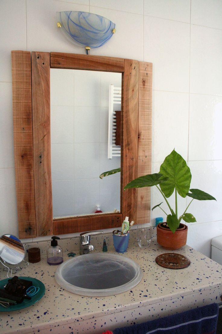 Mi 2 mini proyecto un marco para el espejo del ba o reciclando madera de pallet muebles - Bano de madera ...