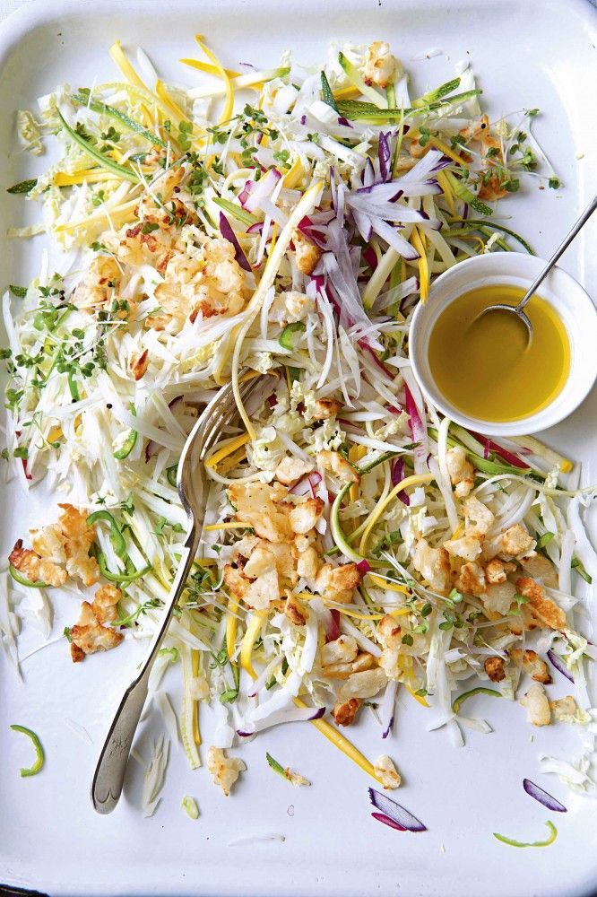 Fennel, Chinese leaf, courgette and radish slaw with crispy halloumi crumbs and honey and lemon drew