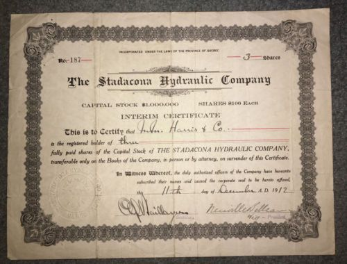 Collecters Item Stadacona Hydraulic Co Of Quebec Canada 1912