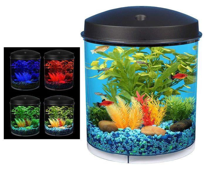 360 Starter Aquarium Kit 2Gal Fish Tank Round Bowl Internal Filter LED Light