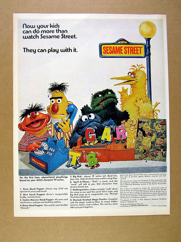 1971 Sesame Street Toys bert ernie oscar big bird cookie monster art print Ad