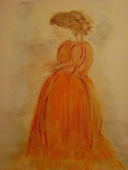 Geïnspireerd door een tentoonstelling wilde ik een 'dame' op doek maken. Vanuit mijn gevoel werden het er 2, de een in de schaduw van de ander, vaag zonder duidellijk gezicht maar toch overtuigend aanwezig zijn beide dames. Voor mij is het een vertaling geworden van de beleving van mijn hooggevoeligheid en de kracht van het hart, de doorstroom van energie