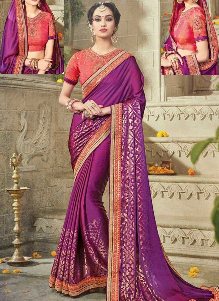 Purple Embroidery Zari Work Silk Designer Wedding Fancy Sarees. Buy online shopping sarees at - UK.