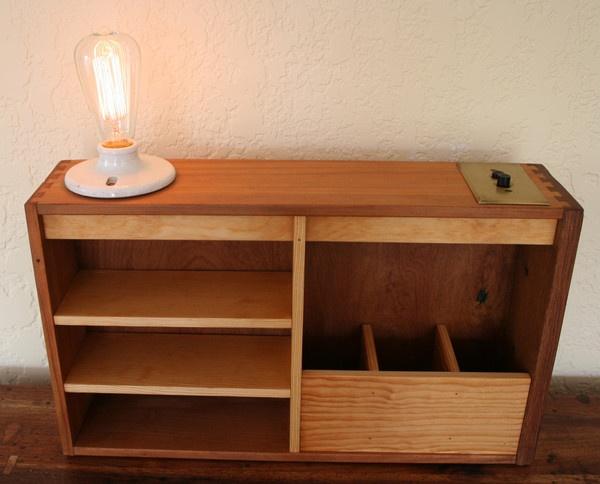 Drawer Lamp – old drawer turned into desk organizer with built-in vintage light