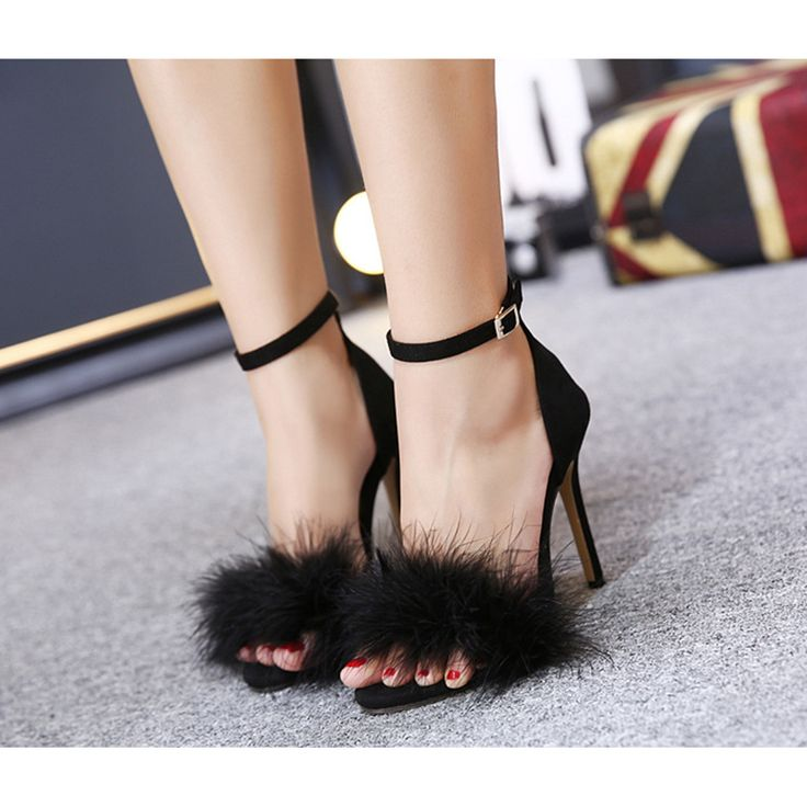 ==> [Free Shipping] Buy Best New Flock Stiletto Women Sandals Faux Fur Ankle Strap Sexy High Heels Shoes Lady Summer Dress Party Shoes Woman Open Toe Sandals Online with LOWEST Price   32806060009